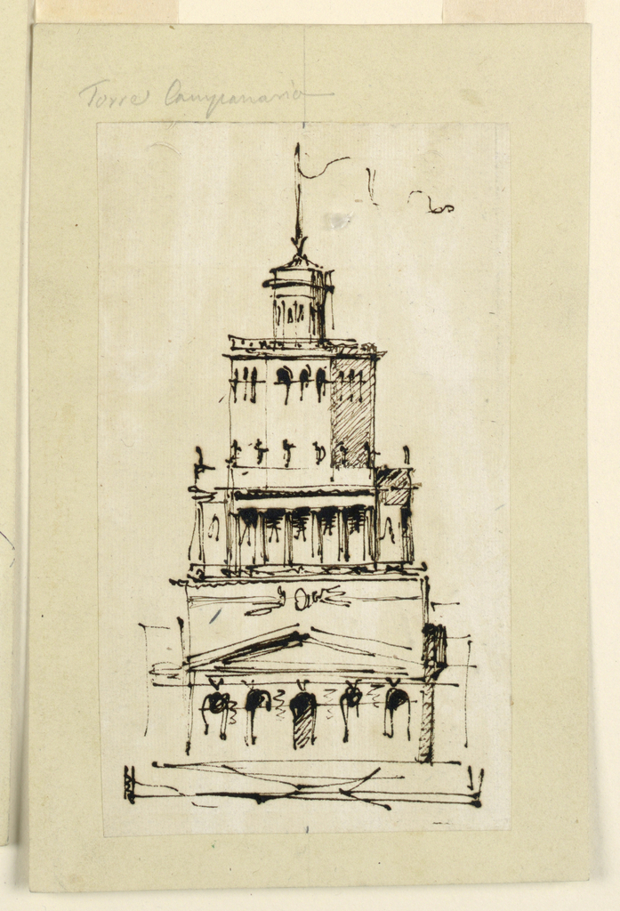 Drawing, Villa or observation tower