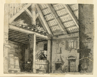 Horizontal rectangle. Vast high hall with chimney piece. Two barrels standing on the left, wooden roof beams visible.