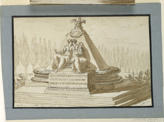 Three steps lead to an oblong platform obliquely and incompletely shown. A pyramid which is topped by a fleur-de-lys rises from an oval molded base with an oblong plinth. Two women sit on a pedestal at the front side, holding a compass and a lyre, respectively.   Inscription:  QUI.GIACE.LARCHITETTO/ ROSSI.FIORE(n)TINO.CHE.FU/ POETA.E.SCR(i)SSE.IN.ARCADIA.  Bordered by ink and blue paper stripes.