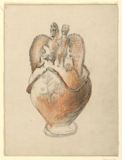 Vertical drawing of a Moorish pottery vase, with large wing handles and figures of a horse and a man.