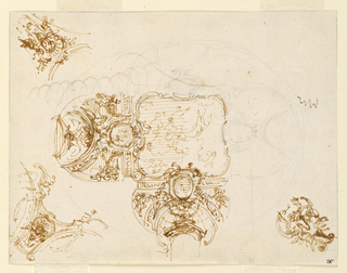 Ceiling decoration with sketches of figures, cartouches, and rounded designs.