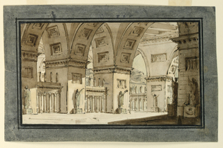 Horizontal rectangle. Interior of palace with high vaults, several sculptures on pedestal.