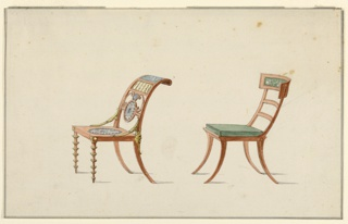 Left: Chair with sloped back, pierced horizontal panel, center medallion repeated on seat.  Back legs curved, mask motifs at joint. Front legs decorated with five circular elements.  Right: Chair with splayed legs, convex back, upper rail upholstered in green with scene of classical figures in white. Green upholstered seat.