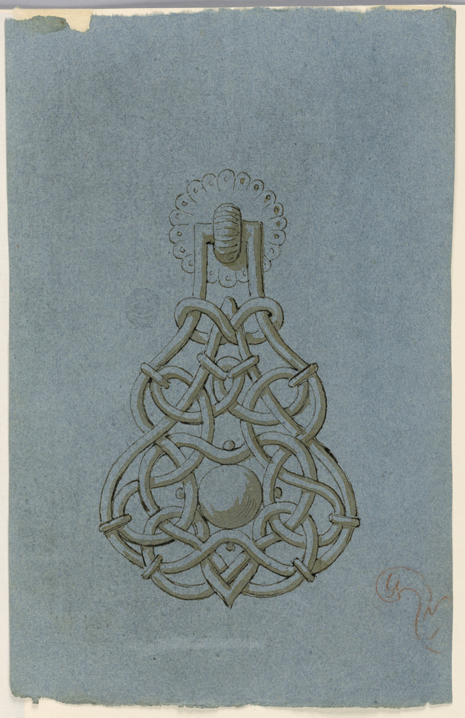 Design for a doorknocker with interlace work.