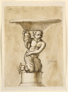 Design for a lavamano (bowl for washing hands). Atop an Etruscan column base, a fish-tailed sea god crouches below the weight of a wide-brimmed bowl.