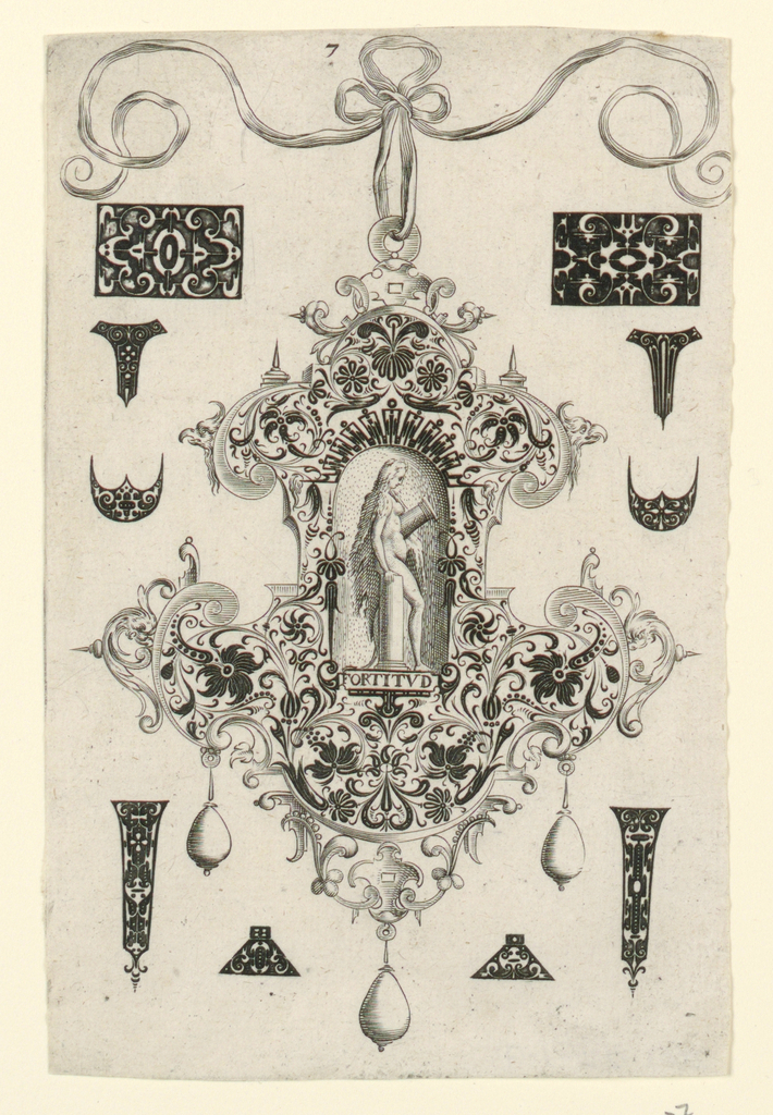 """Pendant design with scroll and floral motifs and hanging pear-shaped pearls.  Central Image: Fortitude, a nude women leaning against a base of a broken column while holding the top half of the column.  Inscribed below image: """"FORTITVD"""".    Surrounding the pendant are blackwork ornament designs for enamelists, mostly showing possibilities for the top and sides of rings.(Matted with 6161.1-5/6,8.2000)"""