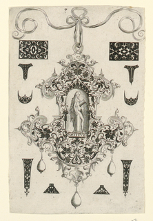 "Pendant design with scroll and floral motifs and hanging pear-shaped pearls.  Central Image: Fortitude, a nude women leaning against a base of a broken column while holding the top half of the column.  Inscribed below image: ""FORTITVD"".    Surrounding the pendant are blackwork ornament designs for enamelists, mostly showing possibilities for the top and sides of rings.(Matted with 6161.1-5/6,8.2000)"