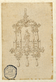 At the center of an arch stands an allegorical figure with a scroll of paper. Baluster forms on either side. Below, three faceted gems and three hanging pearls.