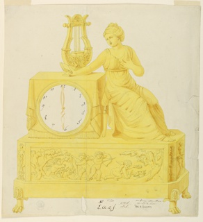 Base, supported by claw feet, its front panel decorated with four putti, two with a bow and arrow. Clock dial above at left incased in the front of a table with cloth. A lyre stands on top of table. At right, a seated woman in classical dress, her arm outstretched, holding a book.