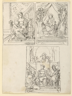 Upper row, at left: The Virgin sits on a bench, the Child stands at left, beside her. Beside, at left, a pillar. In the background is a cupola supported by a colonnade. At right: the Virgin sits upon a throne with a canopy, in front of which two putti stand on either side. She carries the Child in her lap. Below: The Virgin sits upon a throne, with the Child standing beside her, at left. Beside her, at left, a kneeling and a standing woman, at right the figure of a young woman, standing in front of two broken columns, seen frontally, the head turned toward right. Framing line. B: the other side. Above, at right: three-quarter figure of a young woman, sitting at a table upon which she places her right arm, raising her left hand which carries a letter. Her Skirt is brown, the blouse green, a blue shawl is visible on the back of the chair, where her left forearm rests.