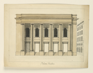 Horizontal rectangle. Two-storied building with a six-columned Ionic portico of double order running full length of the facade.
