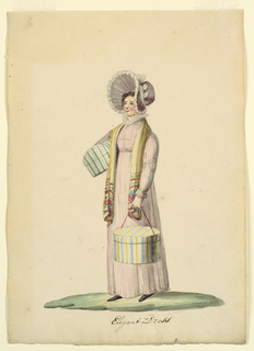 Standing figure of a woman wearing a striped dress and a large bonnet, carrying a band box in her left hand and another box under the right arm.