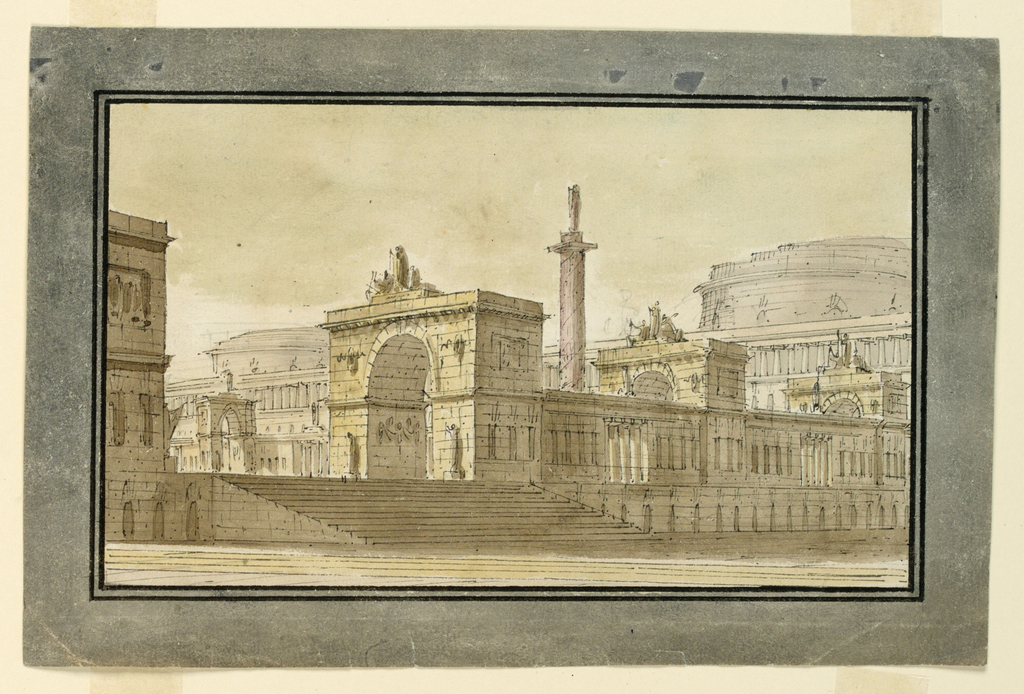 Horizontal rectangle. Group of palace buildings with three triumphal arches, column with sculpted figure behind, large buildings in background.