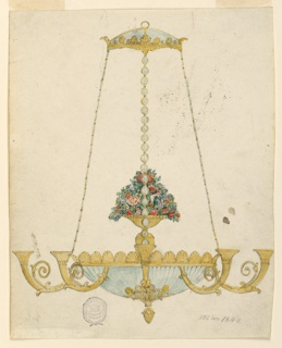 Vertical rectangle. In the center is a vase with a big bouquet of colored flowers. Five arms are visible. The bowl on top, the rings of the chains, a bowl below the ring is of glass. The signature below at right: a monogram of HIM.