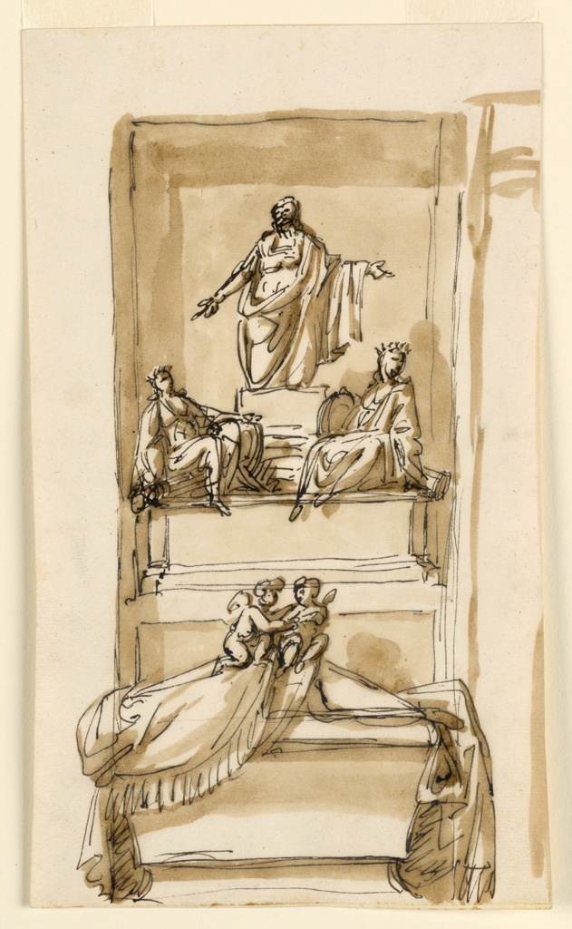"Vertical composition of a sepulchral monument. Below a sarcophagus is partly covered by a cloth with two putti. A pedestal rises in the back on which two women sit. They are personifications of ""Justice"" and ""Peace."" A man in classical armor kneels on a base. An angular niche is indicate. Beside, at right, are parts of another design."