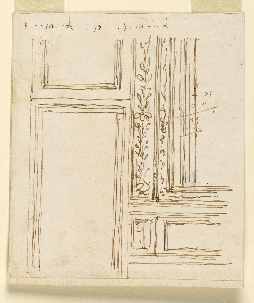 Drawing, Lower section of a wall near a door