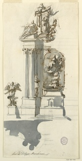 Vertical rectangle. Design for an altar with decorative sculptural niche and surrounding sculptures and columns, right side incomplete.