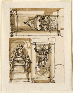 Upper row, at left: the architectural setting is similar to 1938-88-1339. Below is a rectangular panel above a base, decorated with an escutcheon standing in front of a trophy of weapons. Above it sit two winged female putti, of which the left blows a trumpet, in front of the panel of a pedestal, upon which two women lean upon the shoulder of an urn. The decoration of the niche is indicated. Beside at left is a plan as in 1938-88-1343. At right in inverse direction: a variation of 1938-88-1339, the niche being indicated. Below is a pedestal, with a broad projecting central part. The sarcophagus is similar to 1938-88-1295. The women at right carries a branch in her left hand. The putto above is sitting. The outlines of an oblong above belong to the design at left, indicating the next intercolumniation. Below, in horizontal direction: the architectural setting is imilar to 1938-88-1339, with panels instead of the frieze and the niche. The scheme of the monument is similar to 1938-88-1298. Two female allegories sit upon the pedestal in front of the lower part of the sarcophagus. The right one supports a shield or a medallion. A third sits upon the cover.