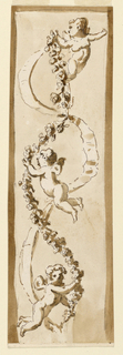 A waved garland and a ribbon, hanging, and crossing each other. They are supported above by a flying putto. The top of the waves is also supported by a putto.