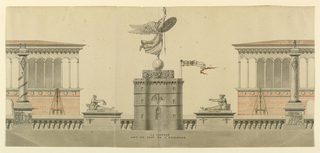 "A series of monuments lined side by side.  At the center, Liberty and a tricolor with the inscription ""LIBERTE"" are on top of a pedestal in the shape of a prison tower; laterally are statues representing weights and measurements and columns with attributes referring to science.  A snake, topped by an ""X"" is wound around the left column under a lozenge, representing Night: the top of the column is surrounded by a railing and carries a burning-glass; a thermometer and a weather-cock, ""S"" and ""N"" are at the right; the sculptures are shown against the parapet bordering a terrace; behind it rise two cranes, and parts of structures with loggias in Romanesque style."