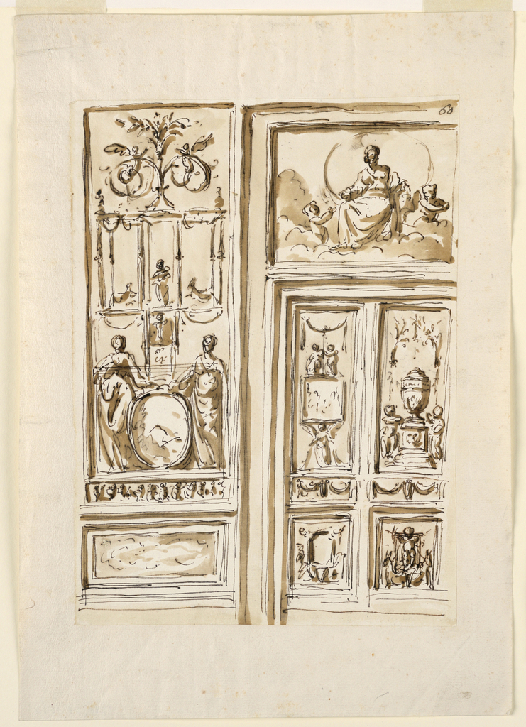 Drawing, Door and adjoining wall panel