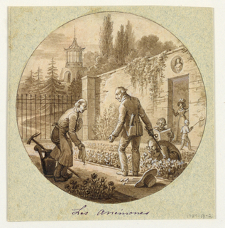 Design for a painted porcelain plate, rondel. Garden setting with chinoiserie pagoda in left background. Male gardener and figure of a gentleman stand and bow before each other in the middle of anemone beds. Two other men appear behind them, one kneeling and examining flowers, other seated, with a brush between his teeth regarding his sketchbook.  A woman appears in doorway of the garden wall in right background before which a young boy plays with a butterfly net.