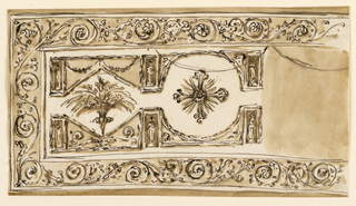 Horizontal rectangle. The left side is shown. The framing border is decorated with rinceaux. In the center is a circular panel with a cross. The circle is inscribed into a square and connected with the lateral panels which are like lozenges inscribed into oblongs. Small oblongs with figures border laterally the shown parts of the outer panels. In the lozenge is a vase with ears of grain.