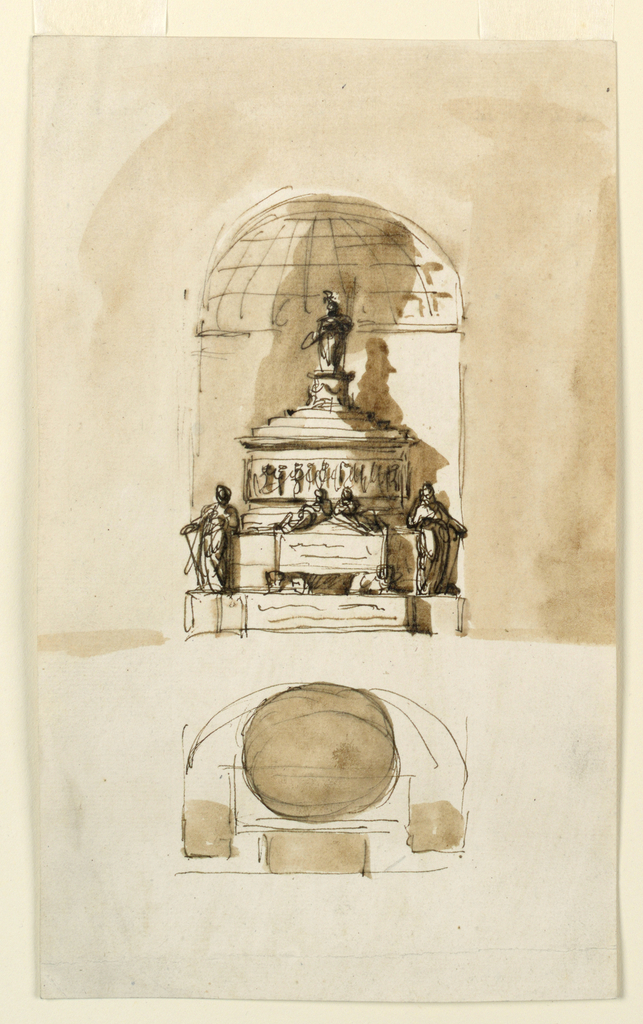 Probably for the Young Pretender Charles Edward Stuart who died in 1788. Above is the elevation, below is the plan. Standing in a niche with a vault (?). A variation of the design 1938-88-1264. One section of steps leads up. Female figures stand upon the lateral pedestals. Only the sarcophagus at the front is repeated. No lamps are above the entablature. The figure on top is similar to that in 1938-88-1650. Colored background beside the upper design.