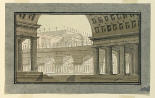 Horizontal rectangle. Group of palace buildings, porticoes in foreground.