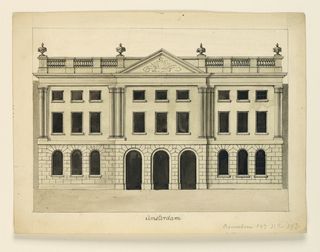 Horizontal rectangle. Two storied Palladian structure above a rustricated basement story. Roof broken by pediment and topped by balustrade with urns.