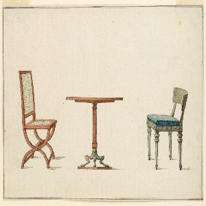 Circular table, fluted column support terminating in bent goat legs. Flanking table, left chair with X-shaped frame, cane seat and back. Right: chair, slightly sloping back rail, blue and ochre patterned seat cushion, tapered legs.
