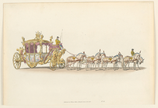 Horizontal rectangle. The carriage is drawn by eight horses. It is empty except for the driver.