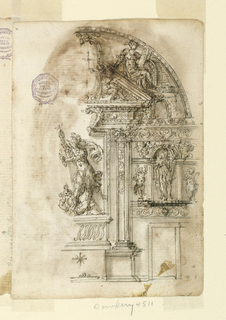 Elevation of an alter. The right half is shown with the adjacent part of the bay of the wall. The retable has the shape of an aedicule with the group of St. Michael with the Devil in the center, and with a triangular pediment, upon whose side a woman with a tablet is sitting.
