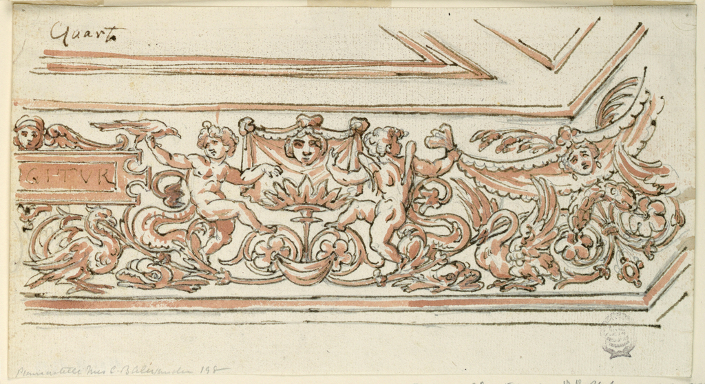 """Horizontal rectangle. At the left, a partial tablet with """"IGITVR. A winged head on top. Two putti sitting between a rinceaux."""