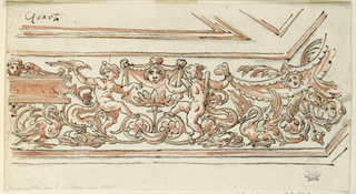 "Horizontal rectangle. At the left, a partial tablet with ""IGITVR. A winged head on top. Two putti sitting between a rinceaux."