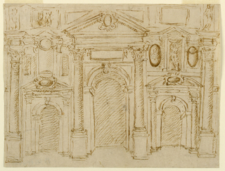 Three bays. Arched gateway with an aedicula frame in the center. Laterally are similar lower gateways with rows of niches. Alternative suggestions are made for details