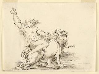 Sketch, Hercules Slaying the Lion (?).