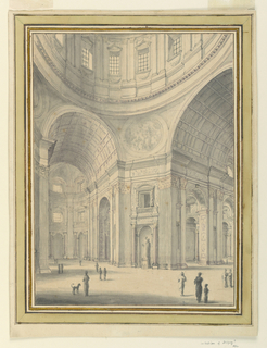 Design of the interior of a large, domed church.