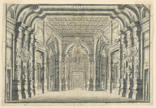 Horizontal rectangles showing a hall richly decorated with architectural moldings and sculptures on pedestals. In background, textiles hang from shells above three arched doorways.