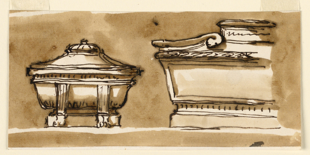 At left: the elevation of a bathtub sarcophagus supported by gaines with lion's feet which stand in front of the base. At right: the left side of an elevation. The sides are trapezoidal. On top of the cover is a tablet with an isncription between scrolls. Colored background, the upper parts of which are in -1399.