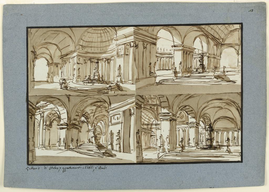Drawing, Palace interior