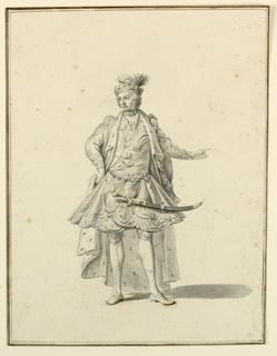 Vertical rectangle. Full-length of a man, facing the spectator, his head turned toward the left. His right hand is at this hip, the left gesturing. He wears an elaborate brocaded costume, with an ermine-lined cape over it. On his head a turban adored with a plume and jewels. A sword is at his side.