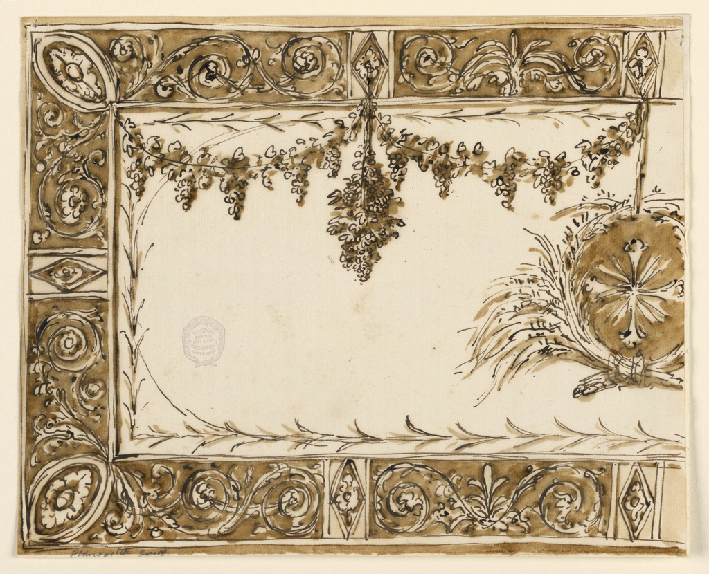 Horizontal rectangle. The left half is shown. The panel is framed by a wide border with obliquely disposed ovoids with rosettes in the corners. In the middle of the panel hangs a medallion, formed by crossed sheaves. Inside is a cross. From the upper edge hang vine festoons and bunches of grapes.