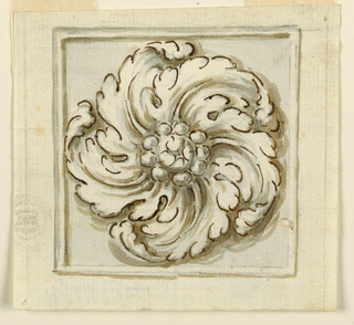 Five acanthus leaves revolve around a circle of beads and a band and molded frame.