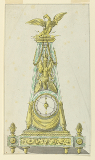 Design for a marble and bronze clock. The clock is set in a marble case, a truncated pyramid in shape, mounted on a marble and bronze plinth. Below the dial a bronze swag, above the dial an escutcheon. An eagle at apex with outstretched wings, with chains suspended from his beak.