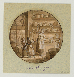 Design for a painted porcelain plate, rondel. Scene in a cheese shop showing the figure of a proprietress, right, standing in front of a counter.  She lifts a glass dome uncovering a piece of cheese which she prepares to cut with a knife that is attached to her apron by a chain.  She appears to have caught two children, to the left, stealing bread.  Behind the counter are three shelves holding wheels or balls of cheese.  On the counter, behind the woman, is a scale.  A cat, left middleground, is eating some cheese; a bird in a cage is suspended from above.  In the left rear, a view of an outside market with clients crowded under umbrella-covered stalls.