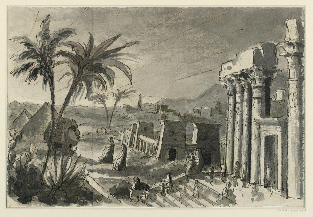 Horizontal rectangle. Egyptian building complex with pyramids, palm trees, pylons, and columns. Large sphinx at left, monumental sculptures at center. At right, crowd of figures on staircase.