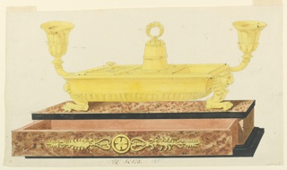 Rectangular box on black base. Long drawer in open position decorated with center rosette, flanked by stylized leafed motif. Inkstand supported by two lion chimerae. A bell at center is flanked by square inkpots, engraved cover on left inkpot. Arms with sockets, presumably to hold pens, at either end.