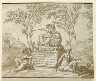 "In a woodland clearing just outside a city, a pedestal stands. A female genius holding a giant tiara and blowing a trumpet is seated atop it. At the bottom of the pedestal sit two more women: one, at left, holds a sheet of music; the other, at right, holds a compass, palette, and brushes.  The pedestal in inscribed with: ""QUI.GIACE.SPEDALIERI.CHE/ SCRISSE.QUID.EST.PAPA.CHE/ BENE.LE.ARTI.ET.LA.MUSICA/ E.BENE.LA.CRUDA.MORTE/ LO.RAPI.TUTTO.IN.VN.COLP(o)""."