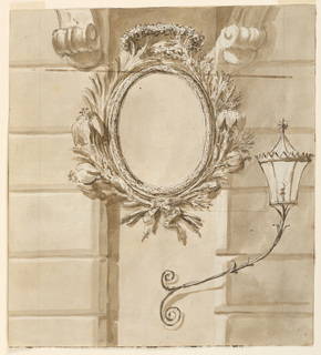 Drawing, Oval frame for the facade of a house, with lantern beneath